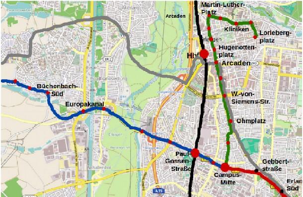 Kartengrundlage: Openstreetmap. Legende: blau: Westachse nach Herzogenaurach, grün: Nordachse nach Erlangen- Nord; rot: Südast nach Nürnberg; schwarz: S-Bahn; grau: L-Variante