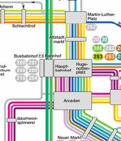 Linienverlaufsplan rund um den Hauptbahnhof