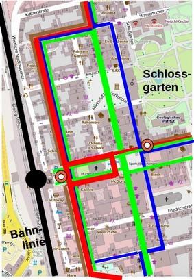 Kartengrundlage: Openstreetmap Verkehrsrouten in der westl. Altstadt: grün = Fußgänger, rot = Busse; blau = Radfahrer, braun = Autofahrer