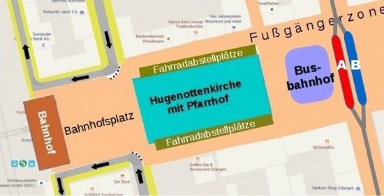 Karte: Openstreetmap; Fußgängerzone rund um die Hugenottenkirche